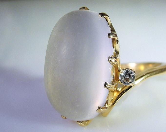 Moonstone Ring, 14K Moonstone Ring w/ White Topaz Accents, Genuine Moonstone, Genuine White Topaz, Vintage Ring, Size 6.25, FREE SIZING!!