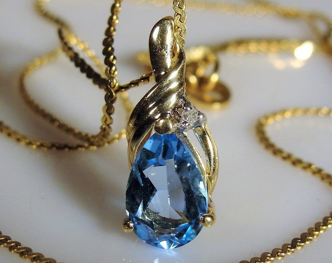 Vintage 10K 1.5 Carat Swiss Blue Topaz Teardrop and Diamond Accent Pendant, Italian 14K Gold Chain, Vintage Necklace, Fine Jewelry Necklace