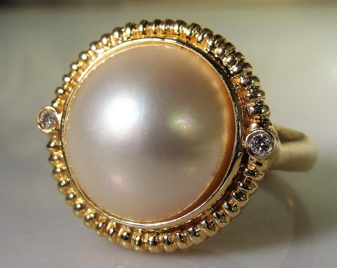 14K Japanese Mabe Pearl and Diamond Ring, 14mm Mabe Pearl, Genuine Diamonds, Pearl and Diamond Ring, Vintage Ring, Size 7.5, FREE SIZING!!