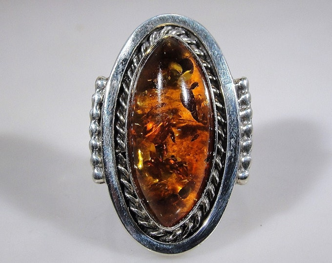 Amber Ring, Sterling Silver Oval Cabochon Amber Ring, Genuine Long Baltic Amber Gem, Right Hand Ring, Size 8, FREE SIZING!!