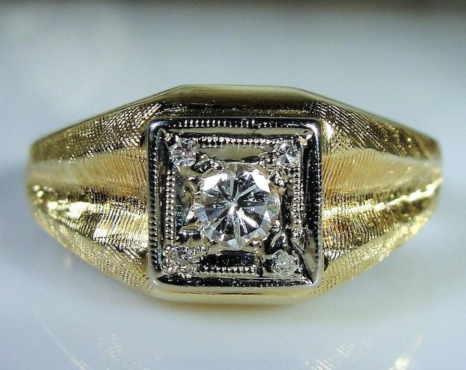 Man's Diamond Ring, MAGIC GLO 14K Yellow Gold Man's Diamond Ring, Gentleman's Ring, Groom's Band, Vintage Ring, Size 11.25, Free Sizing!!