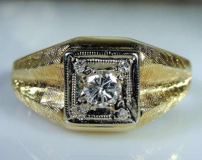MAGIC GLO 14K Yellow Gold Man's Diamond Ring, Gentleman's Ring, Groom's Band, Right Hand Ring, Man's Ring, Vintage Ring, S11.25, Free Sizing