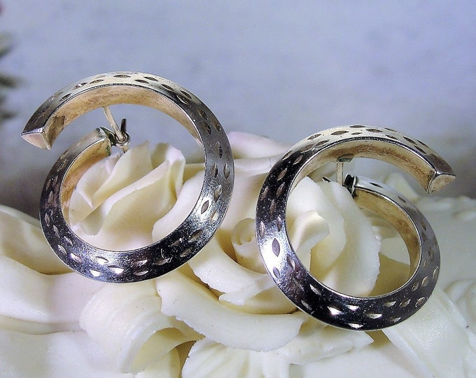 Pierced Earrings, Sterling Silver Twisted Hoop Earrings, Vintage Earrings