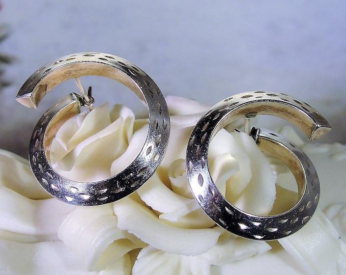 Sterling Silver Twisted Hoop Earrings, Pierced Earrings, Unusual Decorative Hoop Earrings, Vintage Earrings
