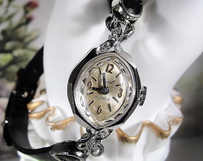 Women's Wrist Watch, DUVAL Art Deco White Gold and Diamond Mechanical Wrist Watch, Wind Up Watch, Women's Wrist Watch, Vintage Wrist Watch