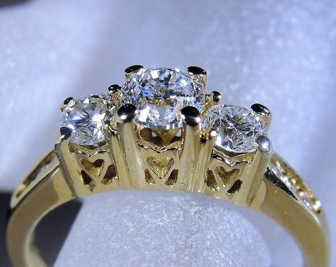 14K Gold Diamond Trilogy Engagement Ring with Hearts in the Mounting and Past Present and Future Engraved inside the Band, Vintage Ring, S 7