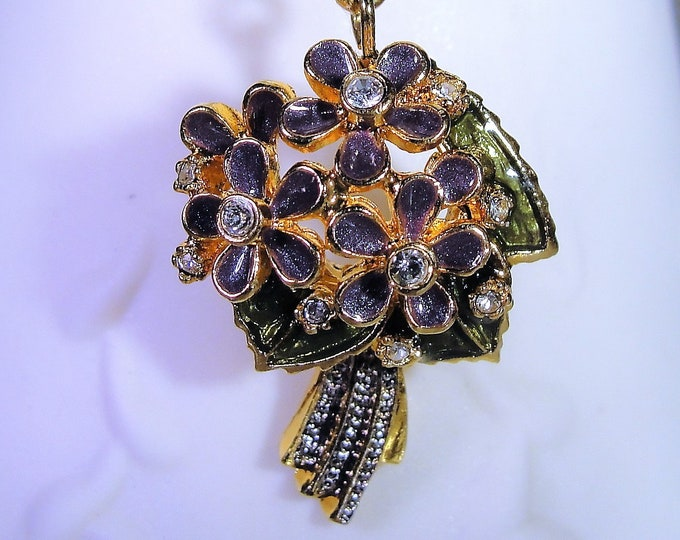 Multi-purpose Charm, NOLAN MILLER Glamour Collection Purple Flower Bouquet Charm & Necklace Chain