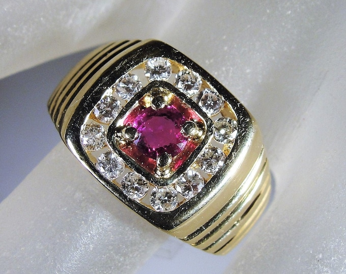 Man's Ruby Diamond Ring, 14K Ruby and Diamond Ring, Gentleman's Ring, Genuine Ruby and Diamonds, Vintage Ring, Size 8.5, FREE SIZING!!
