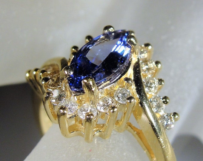 14K Tanzanite and Diamond Statement Ring, 1 Carat Marquise Tanzanite Gem, 18 Diamonds, Cocktail Ring, Vintage Ring, Size 7.5, FREE SIZING!!