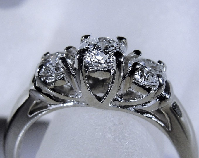 14K White Gold Engagement Ring, Diamond Engagement Ring, .75 CTW, 3 Stone Engagement Ring, Trilogy Ring, Vintage Engagement Ring, Size 7