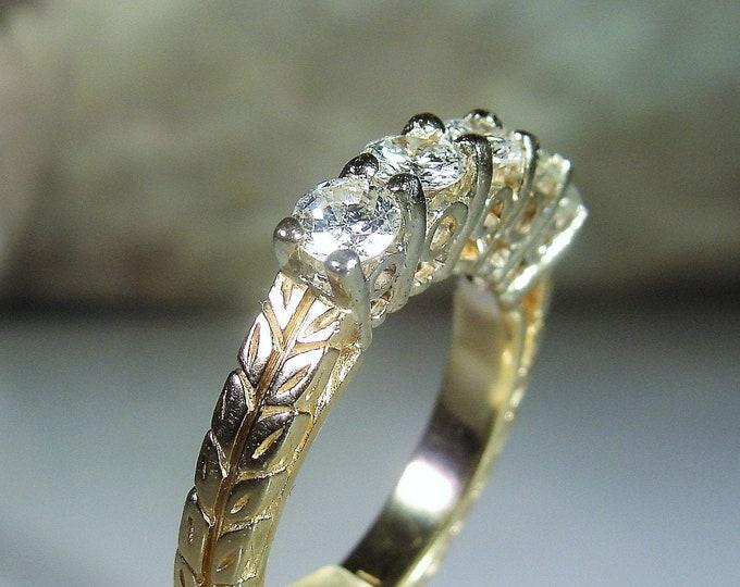 Annversary Ring, 14K Gold Art Deco 5 Stone Diamond Anniversary Ring, Geometric Design Work, Wedding Band, Vintage Ring, Size 6, FREE SIZING!