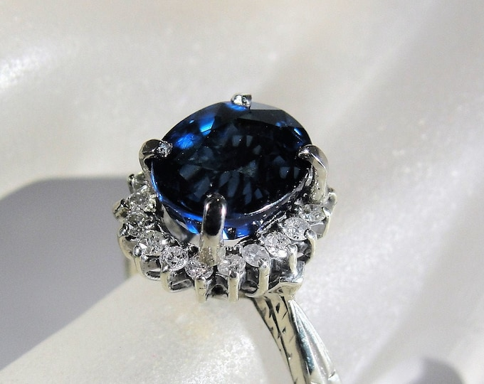 Sapphire Ring, 14K White Gold Art Deco Blue Sapphire and Diamond Halo Ring, September Birthstone, Size 6.25, Vintage Ring, FREE SIZING!!