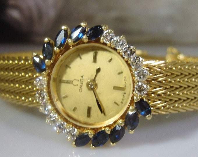 Women's Wrist Watch, OMEGA 18K Yellow Gold Sapphire and Diamond Quartz Wrist Watch