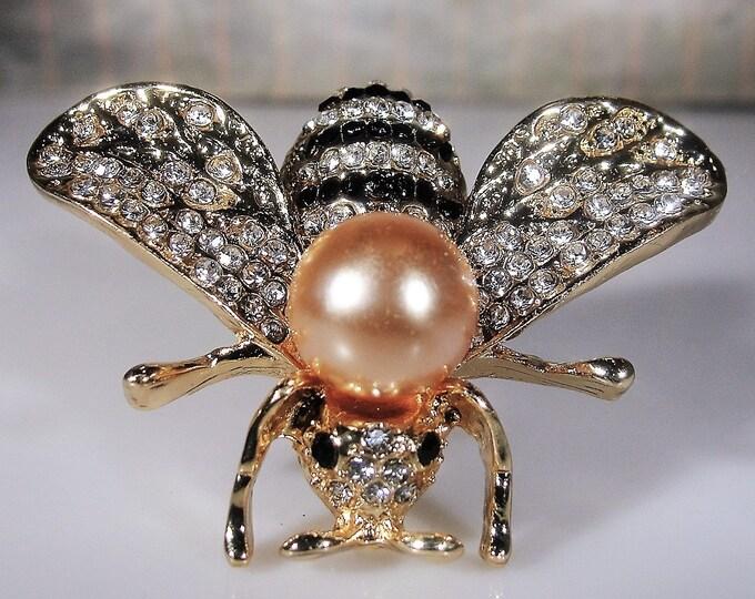 Bumblebee Brooch, Rhinestone Encrusted Pearl and Black Enamel Bumblebee Brooch, Insect Brooch, Glass Pearl Brooch, Vintage Brooch
