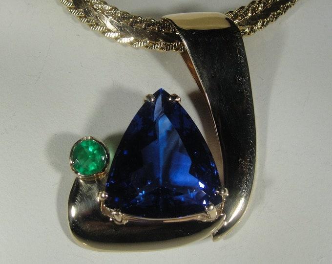 Tanzanite & Emerald Pendant, 14K Yellow Gold Tanzanite and Emerald Pendant, Tanzanite Pendant, Natural Tanzanite / Emerald, Vintage Pendant