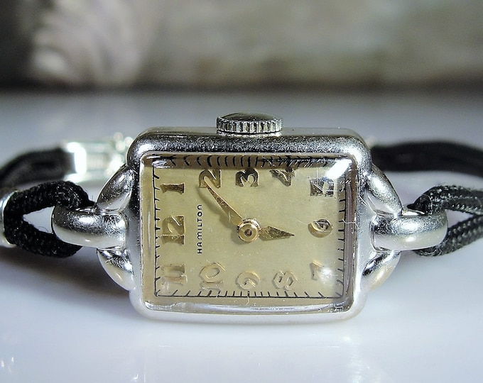 Women's Wrist Watch, HAMILTON Art Deco 14K White Gold Mechanical Wrist Watch with a Black Cord Band