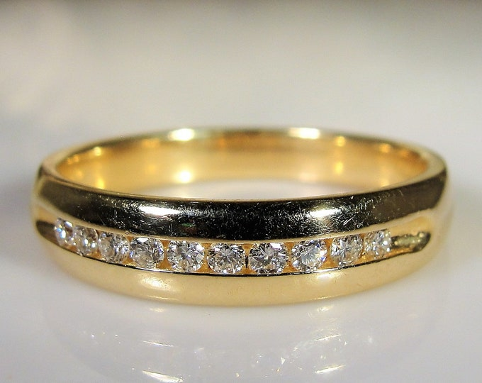Man's Diamond Ring, 14K Yellow Gold Man's Diamond Ring, Gentleman's Ring, Groom's Band, Vintage Ring, Size 10, FREE SIZING!!