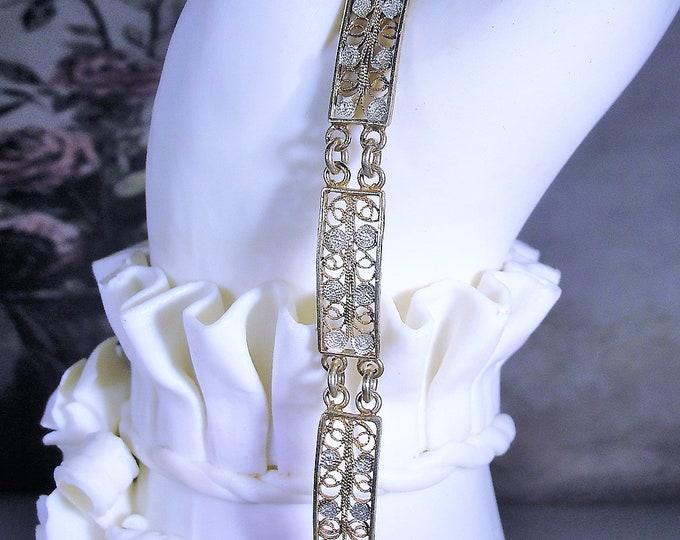 Victorian Gold Washed Vermeil Filigree Small Panel Bracelet, 800 Silver, Beautiful and Dainty, Antique Bracelet, Vintage Bracelet