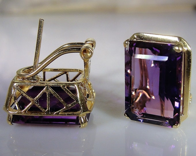 Pierced Earrings, 14K Yellow Gold 13 Carat Emerald Cut Genuine Amethyst Earrings, Vintage Earrings