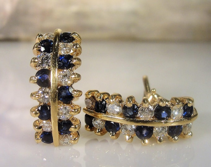 Pierced Earrings, Vintage 14K Yellow Gold Sapphire and Diamond Huggie Earrings