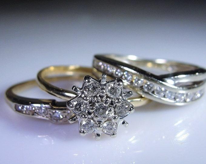Vintage Bridal Diamond Ring Set, Diamond Stacking Ring Set, Wedding Rings, Engagement Cluster Ring, Wedding Band, Anniversary Band, Size 7
