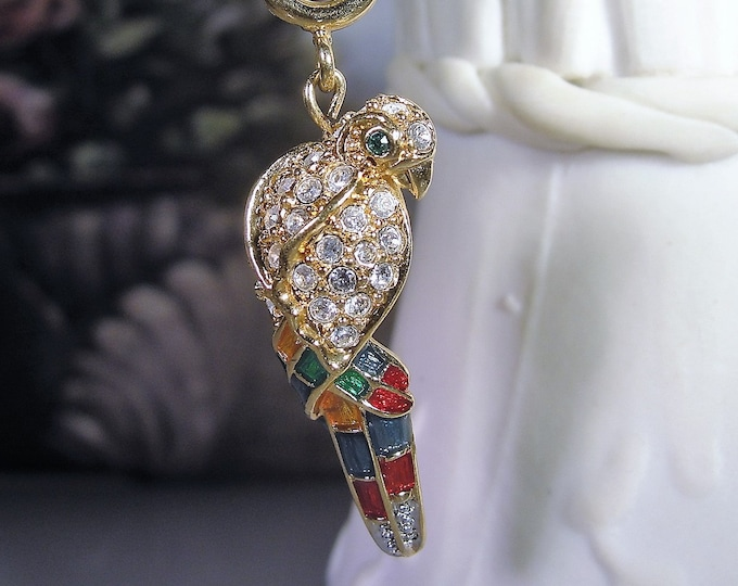 Multi-purpose Charm, Vintage NOLAN MILLER Glamour Collection Rhinestone and Enamel Parrot Charm