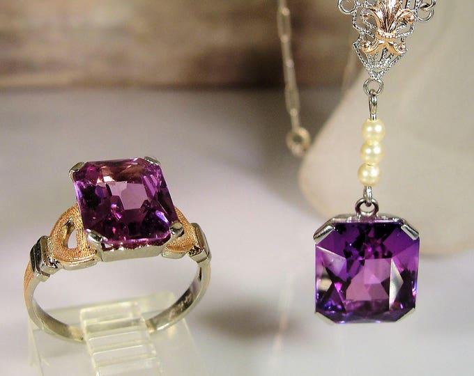 Victorian 14K Purple Sapphire Jewelry Set, Purple Sapphire Necklace & Ring, 14K White and Rose Gold, Seed Pearl Accents,  FREE RING SIZING!!
