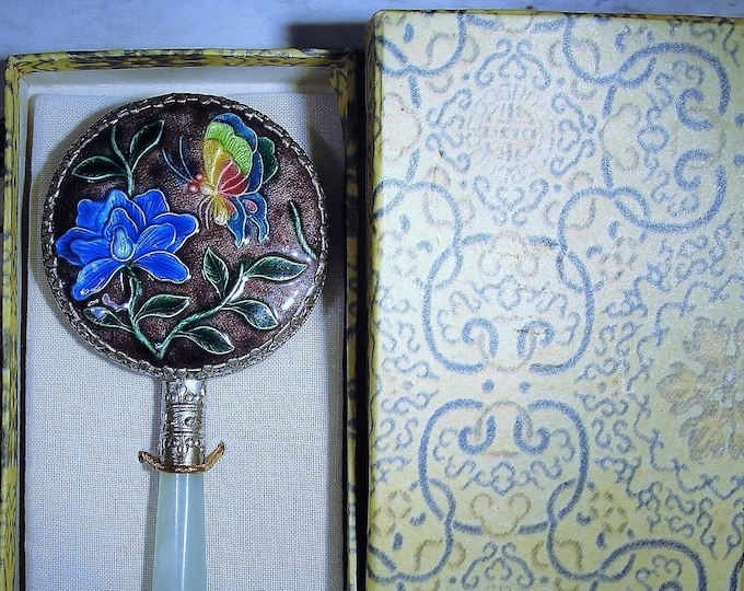 1950s Chinese Cloisonné Enamel Silver and Jade Small Hand Held Mirror, Vanity Mirror, Purse Mirror, Asian Mirror, Vintage Hand Held Mirror