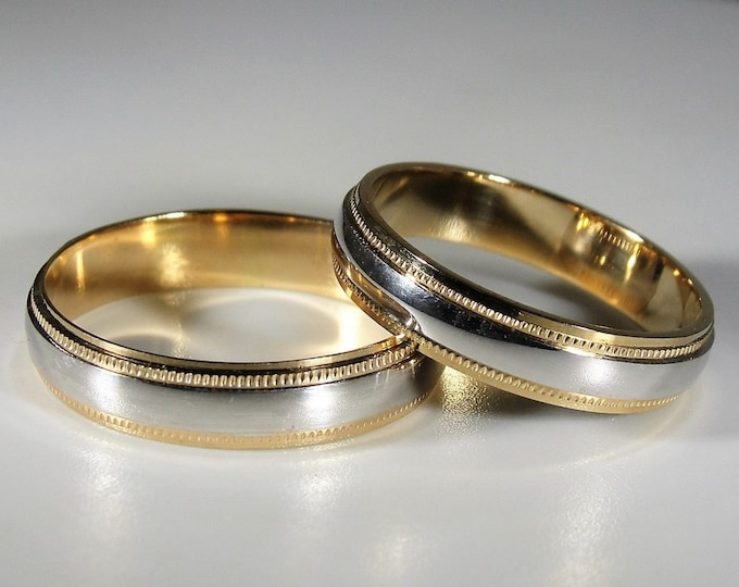 14K Two Tone Gold Bride and Groom Wedding Bands, Yellow Gold Edges, White Gold Center, Bride Sz 7, Groom Sz 9, FREE SIZING and ENGRAVING