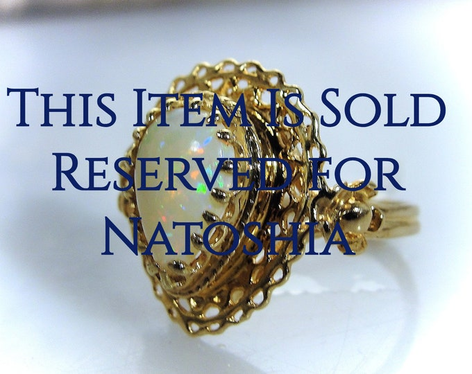 Reserved for Natoshia - 3rd Payment: Art Nouveau 14K Opal Filigree Ring, Pear Shaped Opal, Statement Ring, Cocktail Ring, Right Hand Ring
