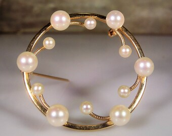 Pearl Brooch, 14K Pearl Brooch, Cultured Pearls, Cultured Pearl Brooch, Round Pearl Brooch, 14K Yellow Gold Brooch, Gold Vintage Brooch