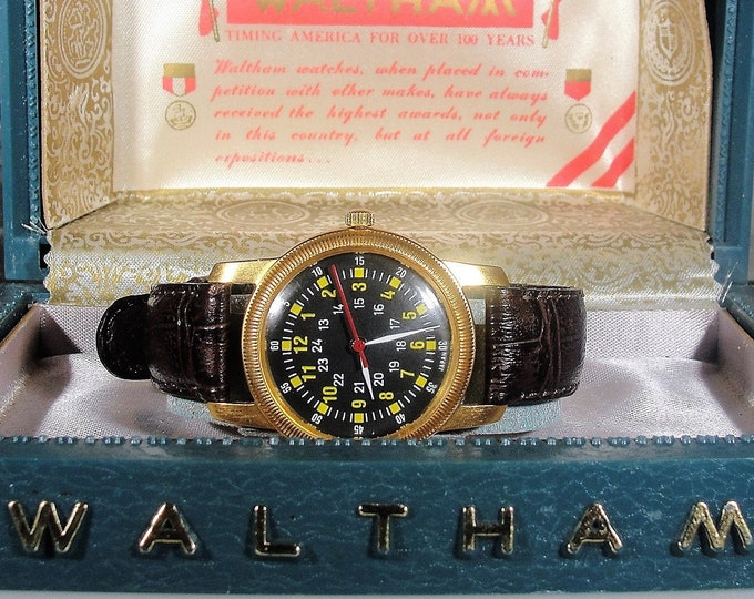 WALTHAM Military Men's Watch, Type A-D MIL-W-6433, 24HR Dial Brass Screw Back, New Battery, Military Watch Case, Vintage Wrist Watch