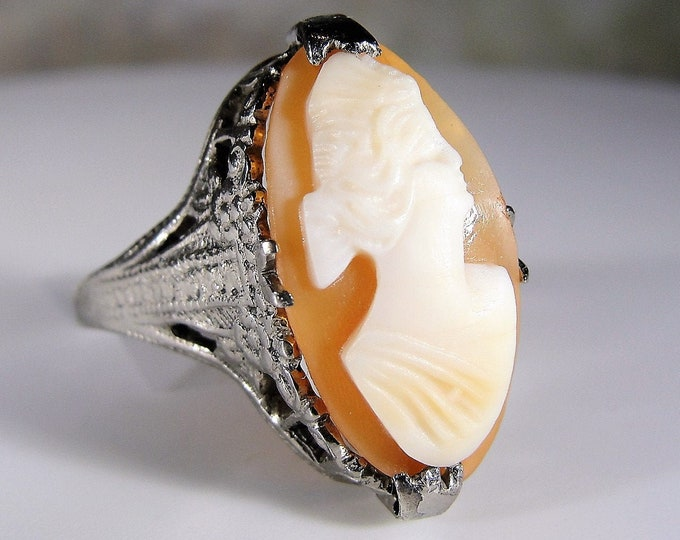Cameo Ring, Art Nouveau Ring, 1910 Antique Ring, Sterling Silver Carved Shell Cameo, Vintage Ring, Size 5.25, FREE SIZING!!
