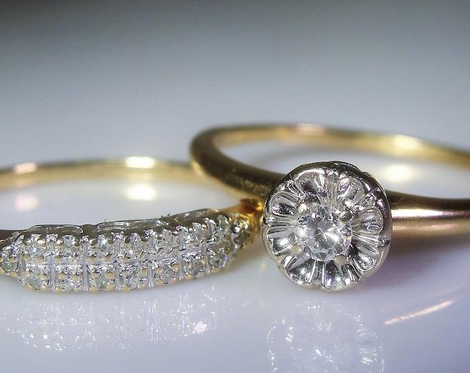 14K Gold Bridal Ring Set, Diamond Engagement Ring, Diamond Wedding Band, Bridal Rings, Engagement Ring, Wedding Band, Vintage, FREE SHIPPING
