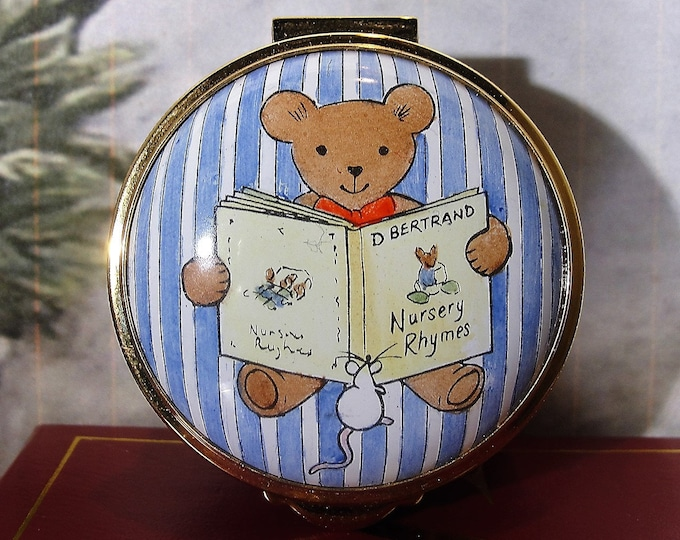 STAFFORDSHIRE ENAMELS, Trinket Box or Pill Box, Teddy Bear Holding a Book of Nursery Rhymes and Little Mouse Watching, Vintage Trinket Box