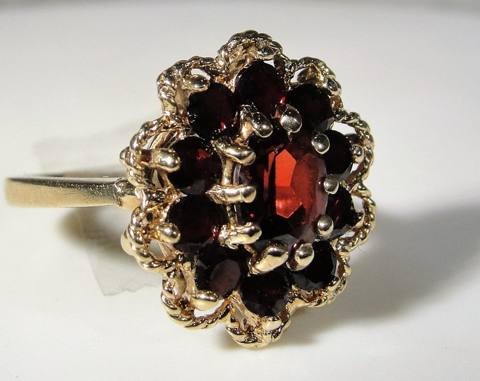 Garnet Ring, TIARA 10K Yellow Gold Floral Garnet Halo Ring, January Birthstone, Right Hand Ring, Size 5.75, Vintage Ring, FREE SIZING!!