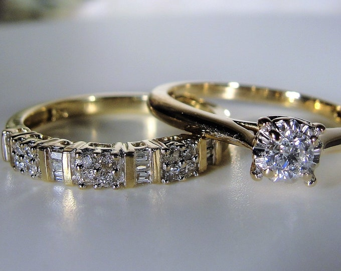 10K Diamond Bridal Ring Set, Genuine Diamonds, Engagement Ring, Wedding Band, Anniversary Band, Vintage Wedding Rings, Size 7