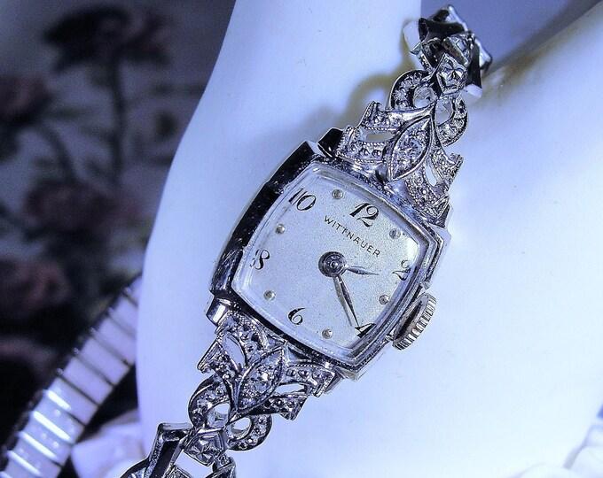 1940s WITTNAUER Women's Wrist Watch, 14K White Gold Diamond Wrist Watch, 17 Jewels, Analog Mechanical Wrist Watch, Vintage Watch
