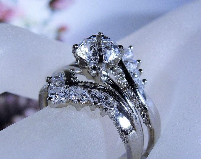 Sterling Silver Bridal Ring Enhancer Set, CZ Ring Set, Engagement Ring, Wedding Enhancer, Travel Rings, Vintage Wedding Rings, Size 10