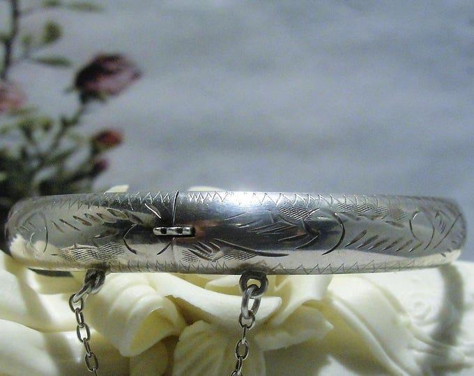 Bangle Bracelet, Vintage Chased Design Sterling Silver Bangle Bracelet with Safety Chain
