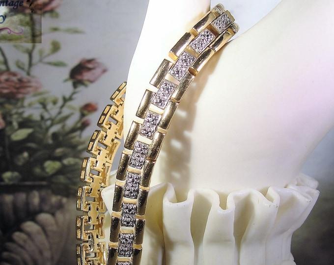 ROSS SIMONS, Gold Vermeil Genuine Diamond Tennis Bracelet, Diamond Bracelet, Tennis Bracelet, Vintage Bracelet, 7.5 Inches