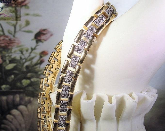 Tennis Bracelet, Vintage ROSS SIMONS Gold Vermeil Genuine Diamond Bracelet