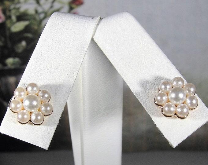 Lovely Faux Pearl Flower Stud Earrings with Push In Comfort Backs, Hypoallergenic Steel Posts, Pierced Earrings, Vintage Earrings
