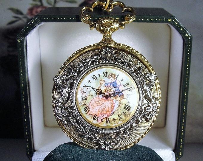 """Vintage Victorian Revival Courting Couple Faux Pocket Watch Pendant 30"""" Chain, Pocket Watch Designed Pendant, Porcelain Limoges Faux Watch"""