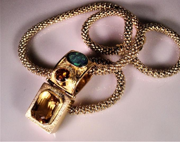 14K Gold Necklace, Natural Citrine, Black Opal Pendant, 14K Italian Chain, Australian Black Opal, Natural Citrine, Citrine Opal Necklace