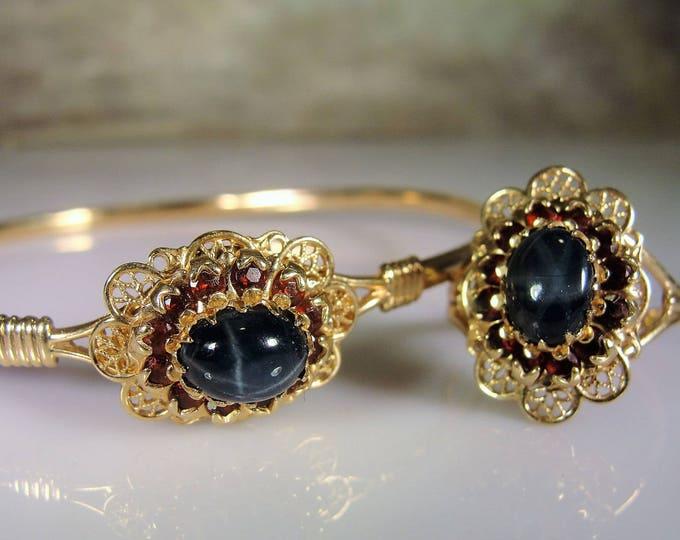 Star Sapphire Set, Star Sapphire Bracelet, Star Sapphire Ring, Lindy Star Sapphire, Genuine Garnet Gems, Vintage Jewelry Set, Ring Set, Sz 7