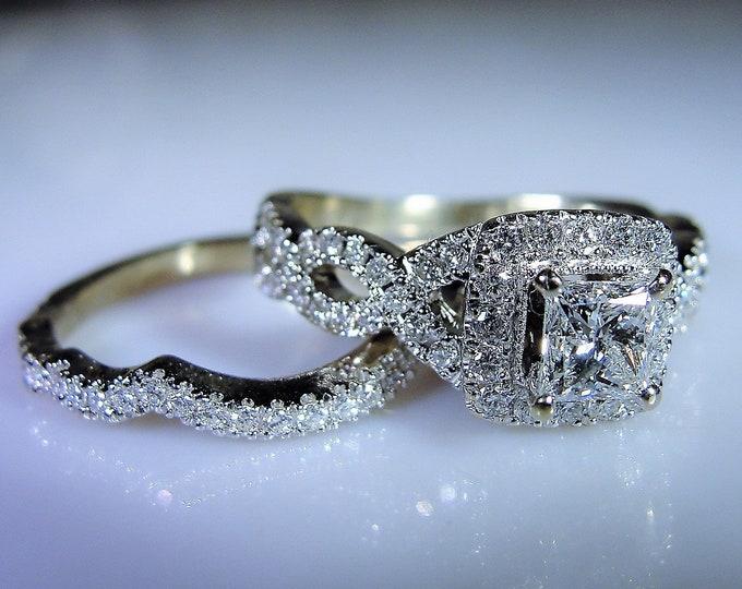 NEAL LANE Bridal Ring Set, 14K White Gold Bridal Ring Set, Diamond Bridal Ring Set, Princess Cut Engagement Ring, Size 6.5, FREE Sizing!!