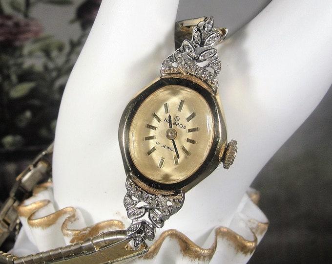 HELBROS Women's Wrist Watch, Genuine Diamond Wrist Watch, 14K Gold Case, 17 Jewels, Mechanical Watch, Vintage Wrist Watch