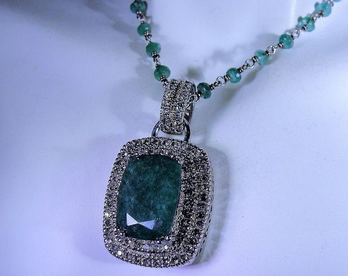 Emerald Necklace, Genuine Green Radiant Cut Green Emerald with White Topaz Accent Stones and an Emerald Beaded Chain, Vintage Necklace