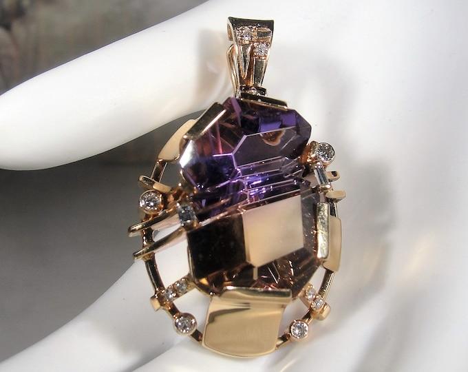 Ametrine and Diamond Pendant, 14K Yellow Gold Ametrine and Diamond Pendant, Genuine Natural Ametrine and Diamonds, Vintage Pendant